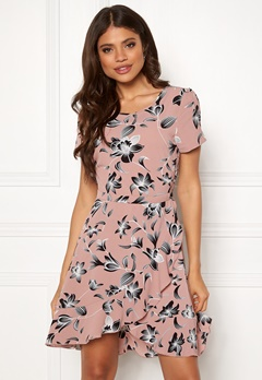 ONLY Nova Lux Frill Dress Adobe Rose/Flower Bubbleroom.no