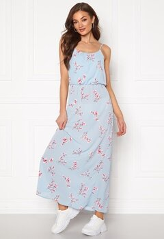 ONLY Nova Lux S/L Maxi Dress Cashmere Blue Bubbleroom.no