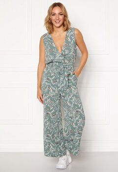 ONLY Nova Lux S/L Wrap Jumpsuit AOP Chinois Green Bubbleroom.no