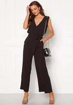 ONLY Nova Lux S/L Wrap Jumpsuit Black Bubbleroom.no