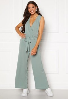ONLY Nova Lux S/L Wrap Jumpsuit Chinois Green Bubbleroom.no