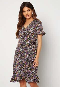 ONLY Olivia S/S Wrap Dress Black / Shore Flower Bubbleroom.no