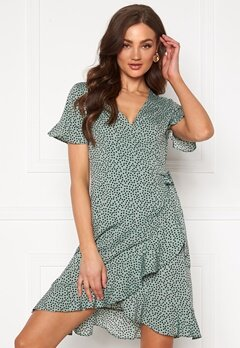 ONLY Olivia S/S Wrap Dress Chinois Green Bubbleroom.no