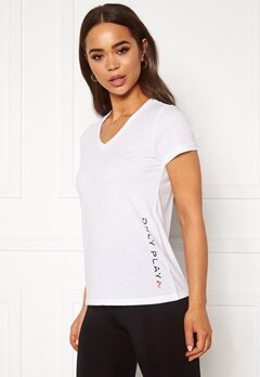 ONLY PLAY Performance ATHL V-Neck SS Tee White Bubbleroom.no