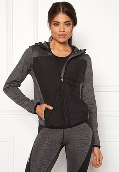 ONLY PLAY Vera Quilted Hood Jacket Dark Grey Melange Bubbleroom.no