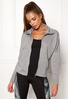 ONLY PLAY Zira Glitter Zip Sweat Medium Grey Melange Bubbleroom.no