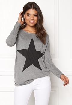 ONLY Reese L/S Pullover Knit Light Grey Melange Bubbleroom.no