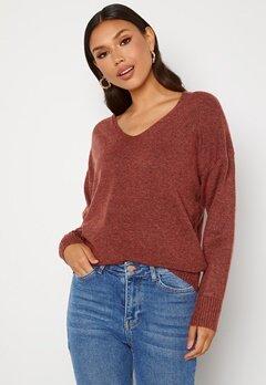 ONLY Rica Life L/S V-Neck Pullover Knit Red Ochre Bubbleroom.no
