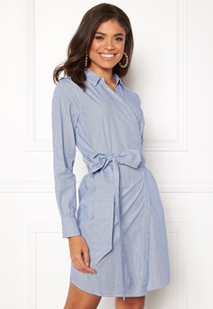 ONLY Rosel LS Wrap Dress Medium Blue Denim Bubbleroom.no