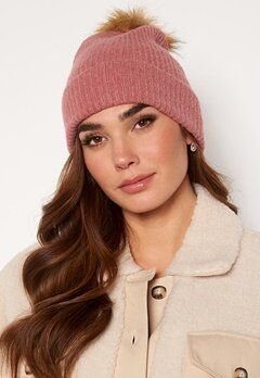 ONLY Simma Knit Pompom Beanie Dusty Rose Bubbleroom.no