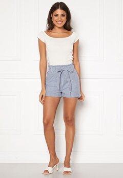 ONLY Smilla Stripe Belt Shorts Medium Blue Denim Bubbleroom.no