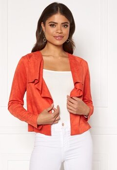 ONLY Stacy Drapy Faux Suede Jacket Spicy Orange Bubbleroom.no