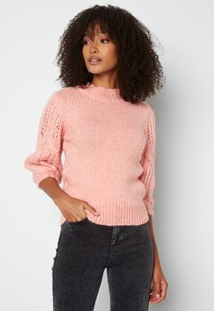 ONLY Sussie Wool 3/4 Highneck Pullover Silver Pink bubbleroom.no
