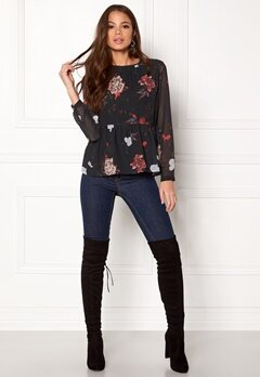 ONLY Uma L/S Peplum Top Aop Peat Bubbleroom.no