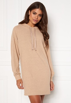 ONLY Zoe L/S Sweat Dress Beige Bubbleroom.no