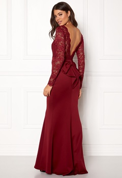 Goddiva Open Back Lace Dress Wine Bubbleroom.no
