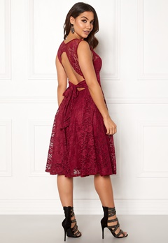Goddiva Open Back Skater Dress Wine Bubbleroom.no