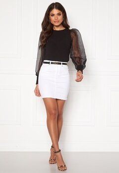 Pieces Aia MW Denim Skirt Bright White Bubbleroom.no