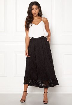Pieces Beda Ankle Lace Skirt Black Bubbleroom.no