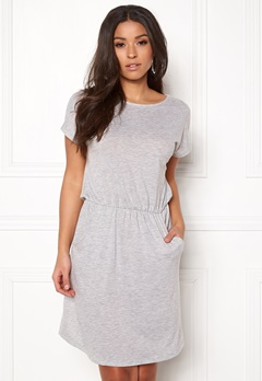 Pieces Billo SS O-Neck Dress Light Grey Melange Bubbleroom.no