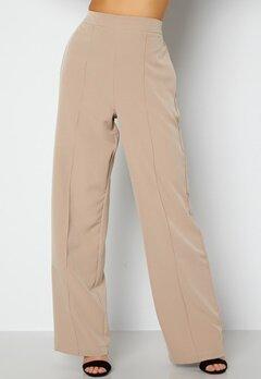 Pieces Bossy HW Wide Pants Silver Mink bubbleroom.no