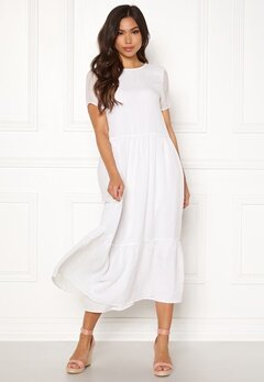 Pieces Casandra SS Midi Dress Bright White Bubbleroom.no