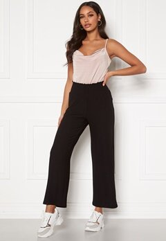 Pieces Curl HW Cropped Pants Black Bubbleroom.no