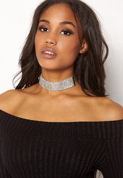 Pieces Diva Glitter Choker Silver Colour Bubbleroom.no