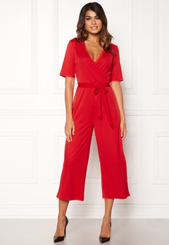 Pieces Duna 2/4 Cropped Jumpsuit Flame Scarlet Bubbleroom.no
