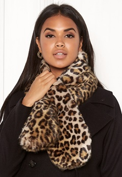 Pieces Fur Scarf DC Black/Leo Bubbleroom.no