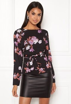 Pieces Gail LS Tie Top Black Bubbleroom.no