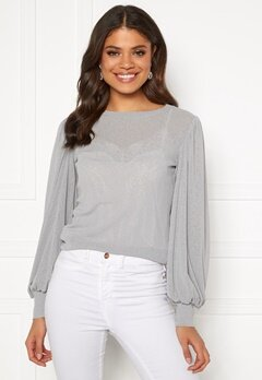 Pieces Giggi LS Top Light Gray Bubbleroom.no
