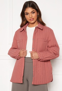 Pieces Gretzel Quilted Overshirt Canyon Rose Bubbleroom.no