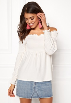 Pieces Gurli LS Offshoulder Top Cloud Dance Bubbleroom.no