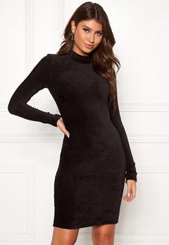 Pieces Indira LS T-Neck Dress Black Bubbleroom.no