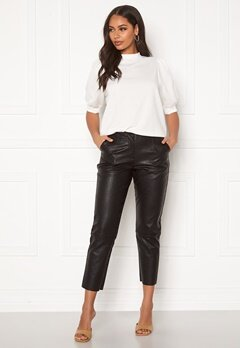 Pieces Ivina MW Cropped Pants Black Bubbleroom.no