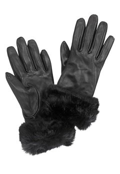 Pieces Janna Leather Glove Black Bubbleroom.no