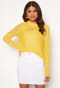 Pieces Kaithlyn LS o Neck Knit Lemon Drop Bubbleroom.no