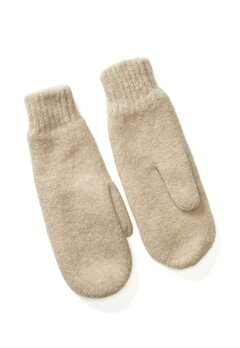 Pieces Kimme Wool Mittens White Pepper Bubbleroom.no
