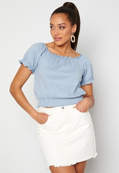 Pieces Leaf Ss Cropped Smock Top Kentucky Blue Bubbleroom.no