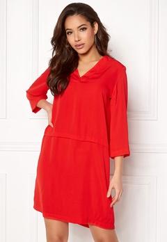 Pieces Madison 3/4 Dress Flame Scarlet Bubbleroom.no