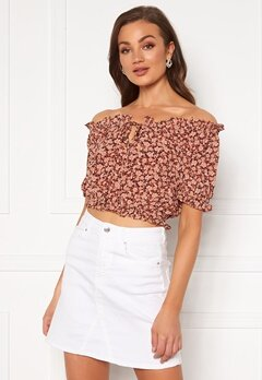 Pieces Maggie SS Cropped Top Copper Brown Bubbleroom.no