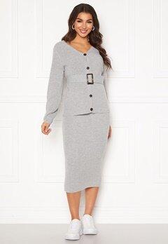 Pieces Milla HW Midi Knit Skirt Light Grey Melange Bubbleroom.no
