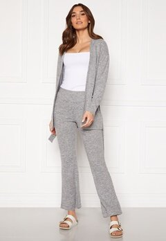 Pieces Pam MW Flared Pant Light Grey Melange Bubbleroom.no