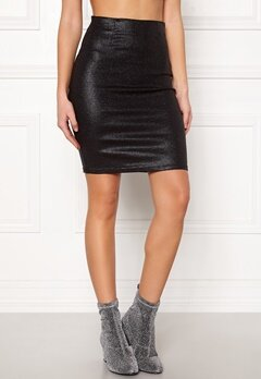 Pieces Paro HW Glitter Skirt Black Bubbleroom.no
