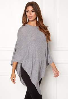 Pieces Rikki Wool Poncho Noos Light Grey Melange Bubbleroom.no