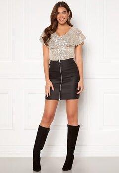 Pieces Roxy HW Zip Coated Skirt Black Bubbleroom.no
