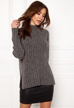 Pieces Sanni LS Wool Knit Dark Grey Melange Bubbleroom.no