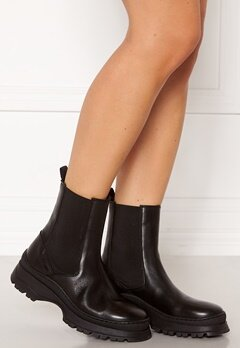 Pieces Selione Leather Boot Black Bubbleroom.no