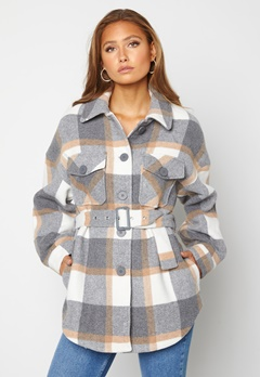 Pieces Selma Overshirt Jacket Whitecap Gray Checks Bubbleroom.no